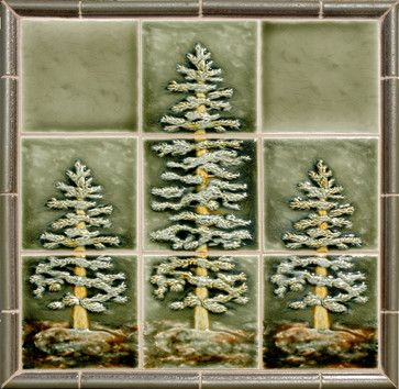 Craftsman Style craftsman kitchen tile Okay, how about these three (fir) trees (there are no pine tress that we can find? The backsplash could be the combination of tile colors with either the Craftsman Matte tiles or the Watercolor tiles if you don't think that is too shiny. I don't know what kind of border would work best since these are not pines. Maybe something similar to what is shown here or the copper border you showed us before?