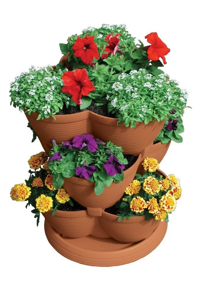 Akro-Mils Strawberry Herb Cascading Flower Planter Patio Stack-A-Pot Terra Cotta http://emporium.auctiva.com/hannesvn Send as a gift - just fill in recipient's address at the space for the shipping address at checkout!  See my other products with above link! #AkroMils