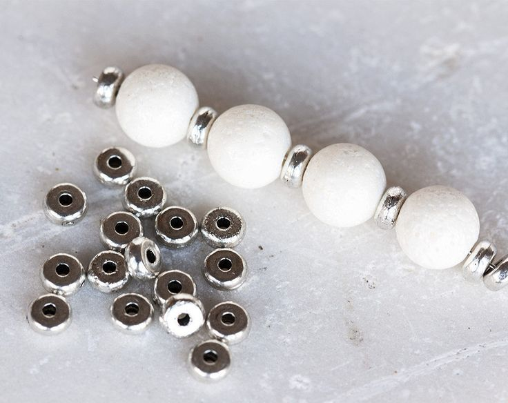 2468_Donut beads 5mm, Spacer beads, Oxidized silver beads, Round flat beads, Jewelry spacers, Metal spacer beads, Silver bead spacers_100pcs by PurrrMurrr on Etsy