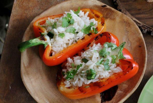 Gevulde gegrilde paprika