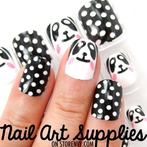 Panda Bear Black and White Polka Dot Fake Nails - False Artificial Acrylic Nail Set $8.99  OR  Any fake nails black and white <3