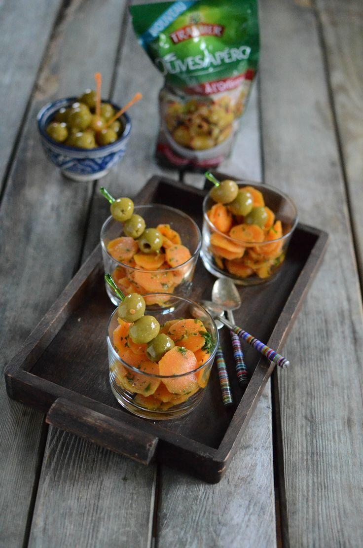 Verrines de carottes au cumin - Olives Apéro recette orientale #recette #apéro #verrine