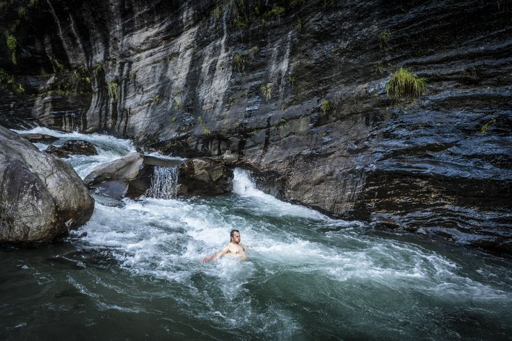 """Manaslu Ski Challenge 2014"" was the second event of the five-year project called Hic Sunt Leones.. photo: Marcin Kin Photography #suntleones #manaslu #mountains #jump #water"