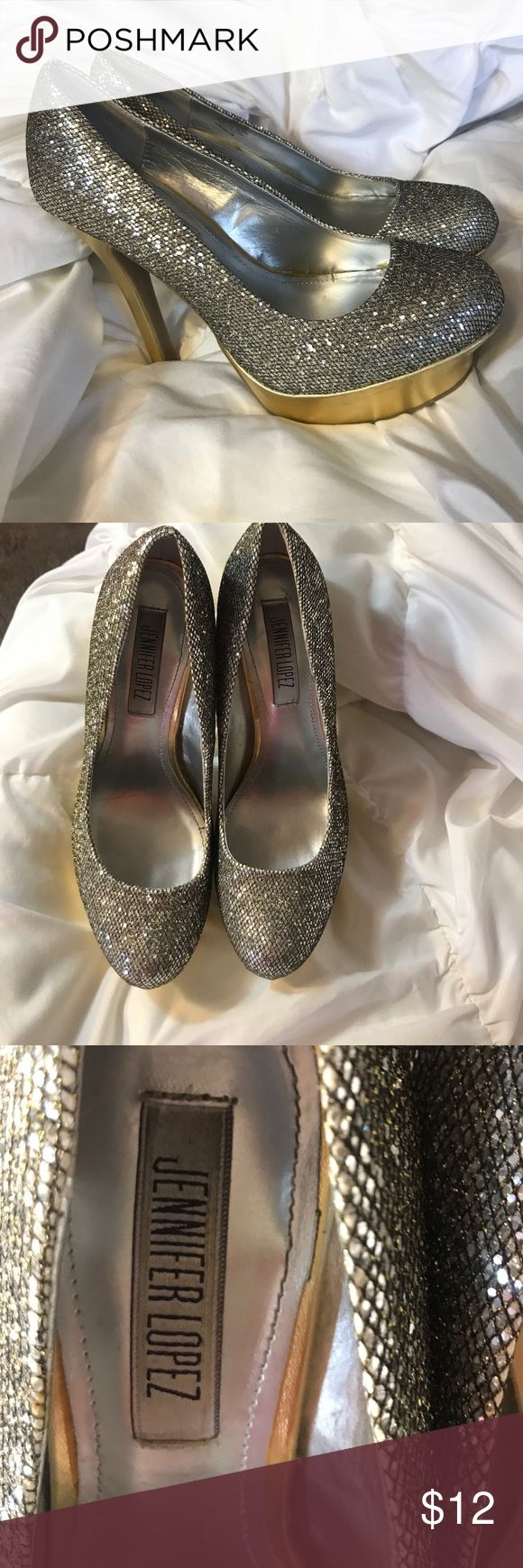 Jennifer Lopez glitter heels Jennifer Lopez glitter heels . Few small scratches but can be fixed with a gold sharpie . Size 6. I have a rep box I can send them In Jennifer Lopez Shoes Heels