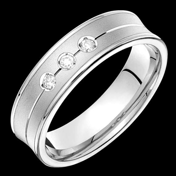 6mm Wide Comfort Fit 10k White Gold Concave Solid Not Plated Diamond Wedding Band Unisex Diamond Wedding Bands White Gold Rings For Men