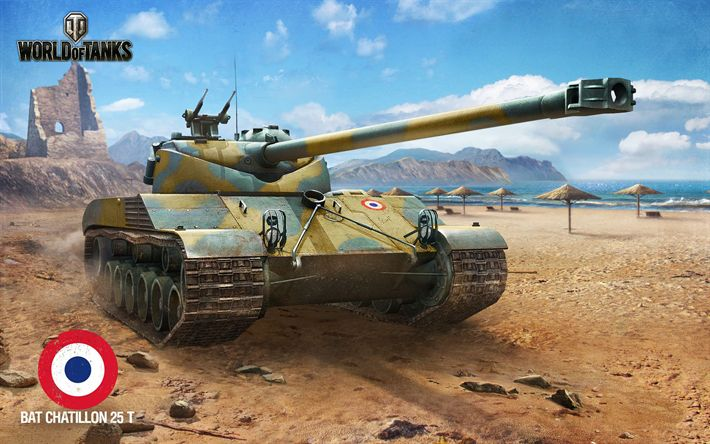 Download wallpapers World of Tanks, WoT, Bat Chatillon 25 t, French tanks, online games, tanks