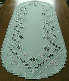 HARDANGER Embroidery – a very special large TABLE RUNNER – handmade #hardangerembroidery