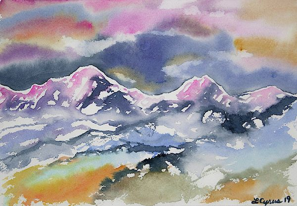 Watercolor Rocky Mountain Sunset Impression By Cascade Colors