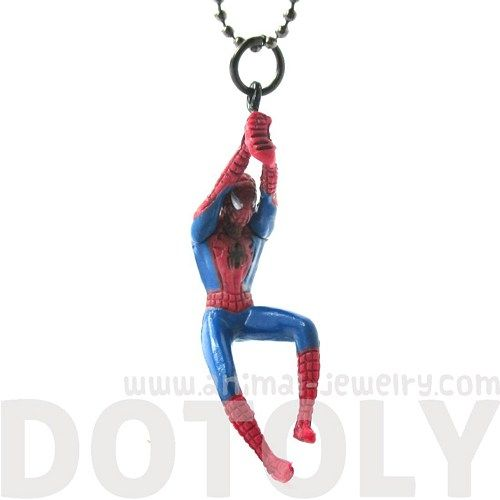 Realistic Mini Spiderman Swinging Figurine Shaped Pendant Necklace | dotoly - Jewelry on ArtFire $12.50 #spiderman #comics #geek #pendants #necklaces #jewelry