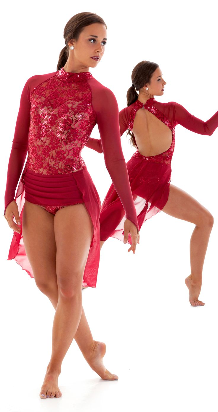 The Jubilee jazz and lyrical dance costume.  Wine lace with sequins, a soft mesh open front skirt, and deep open back. A sweetheart neckline adds a feminine touch!