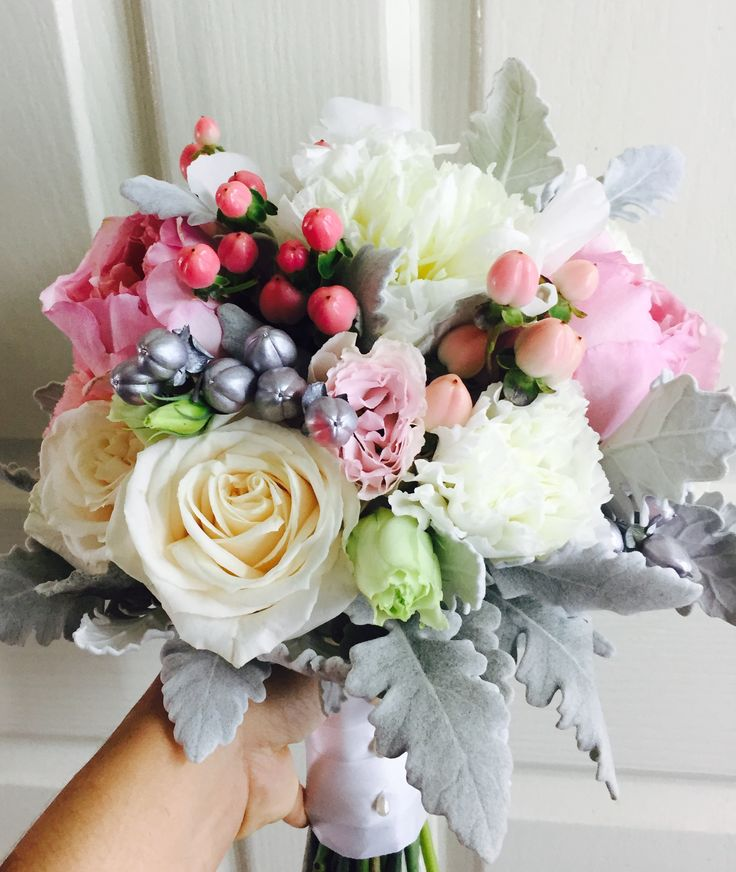 wedding bouquet blush pink, cream, white and silver.
