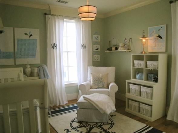 Groene Kinderkamer Ideeen : Soft Green Baby Nursery