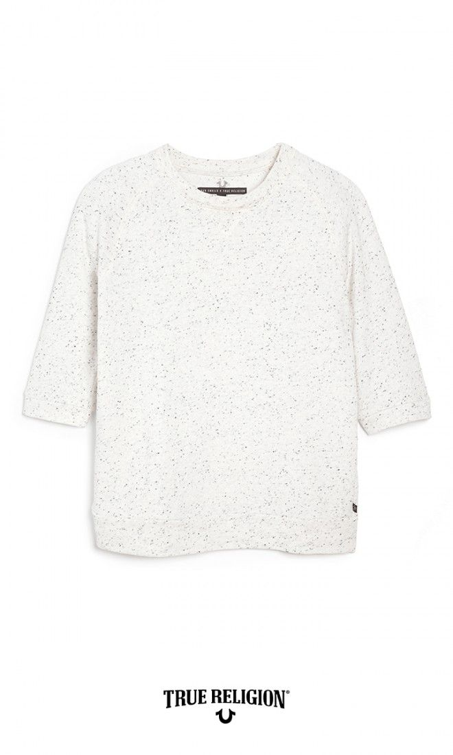 Closet Staple: Speckled french terry pullover Joan Smalls x True Religion