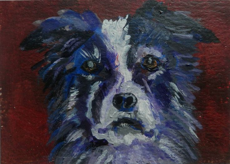 ACEO Border Collie painting, original dog art, pet dog portrait, dog lover gift, miniature dog art, dog decor by CarolineSkinnerArt on Etsy