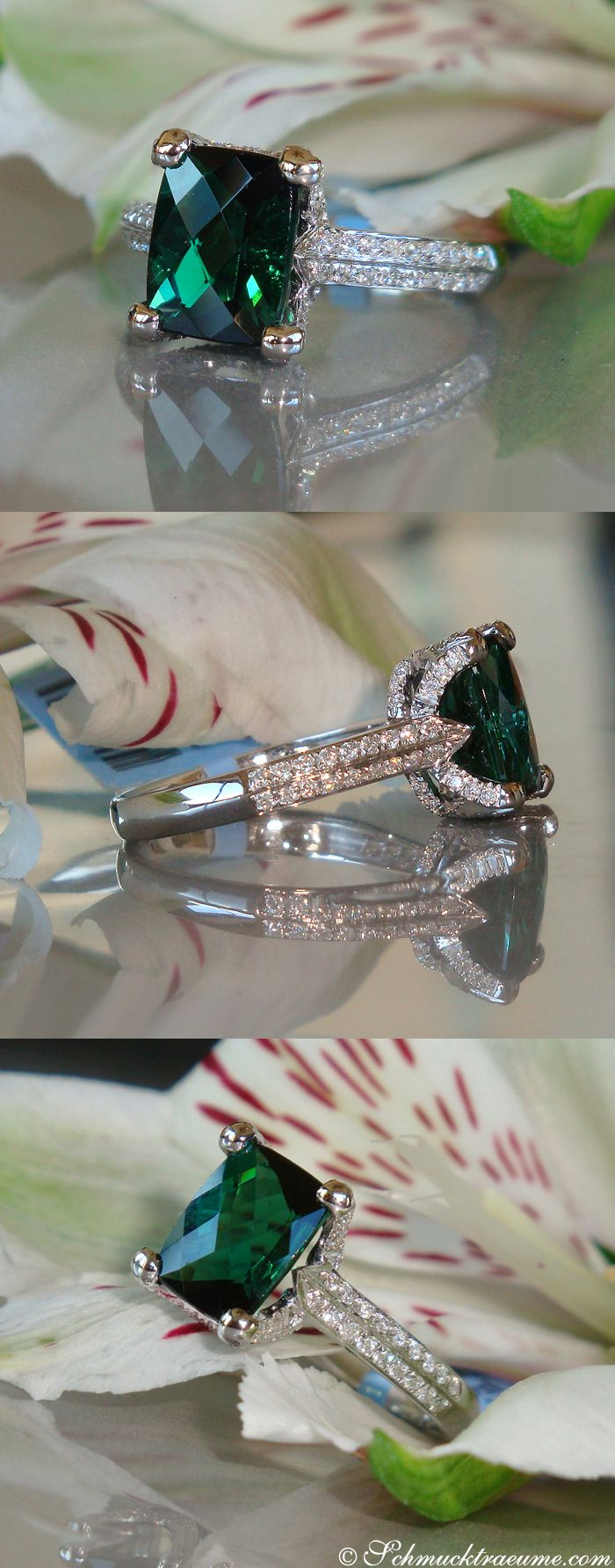Delicate Green Tourmaline Ring with Diamonds (3.10 ct.) in Whitegold 18k - schmucktraeume.com Like: https://www.facebook.com/Noble-Juwelen-150871984924926/