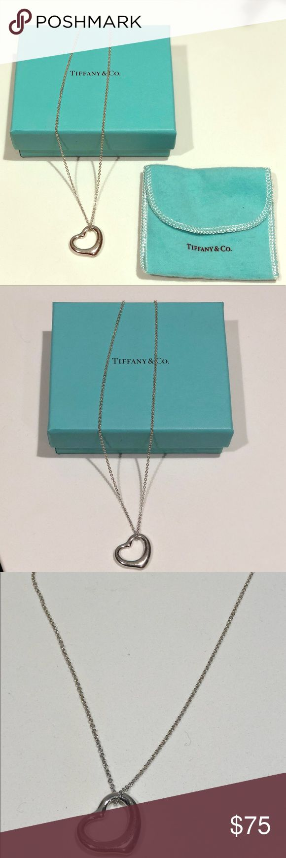 Tiffany heart necklace Classic silver tiffany heart necklace on 18 inch chain. Tiffany & Co. Jewelry Necklaces