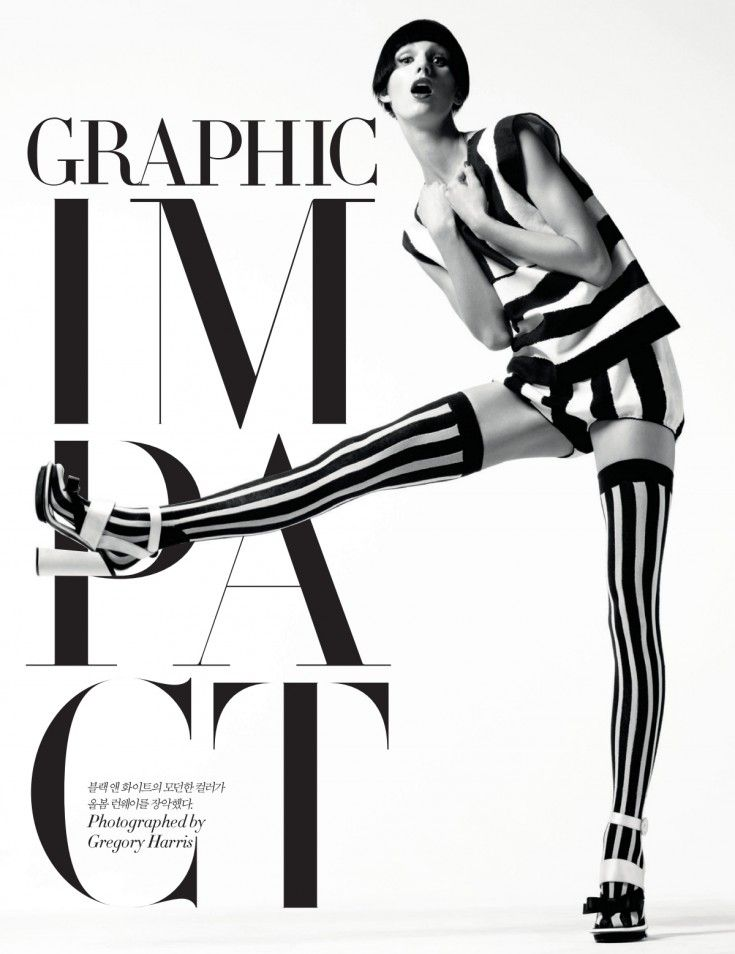 Marte Mei Van Haaster by Gregory Harris (Graphic Impact - Harper's Bazaar Korea April 2013) 1