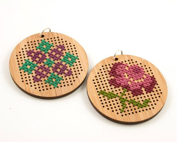 DIY Cross Stitch Necklace Bamboo Pendant by RedGateStitchery