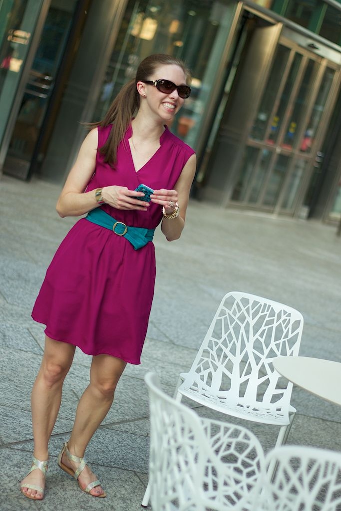 Teal and Magenta Dress with Flat Sandals | what I want ...