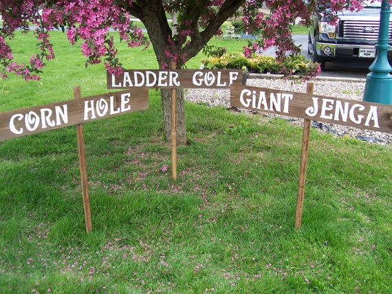 Wedding Lawn Signs 3 Largeoutdoor Weddings Yard Corn Hole Giant Jenga Ladder Golf Rustic Back