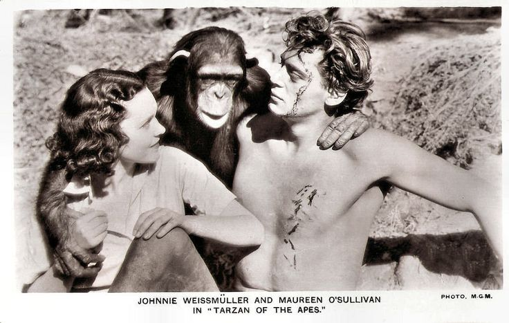 https://flic.kr/p/Sbyj7F | Johnny Weismuller and Maureen O'Sullivan in Tarzan the Ape Man (1932) | British postcard in the Picturegoer Series, no. 680. Photo: M.G.M. Publicity still for Tarzan the Ape Man  (W. S. Van Dyke, 1932)  with Johnny Weissmuller and Maureen O'Sullivan.  German-American competition swimmer and actor Johnny Weissmuller (1904-1984) is best known for playing Tarzan in films of the 1930s and 1940s and for having one of the best competitive swimming records of the 20th…