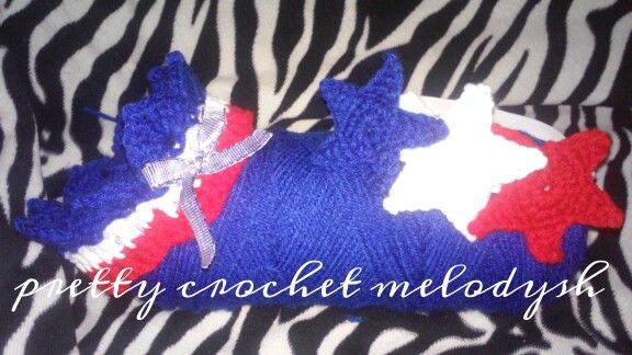 Baby crown and headband for 4th july crochet