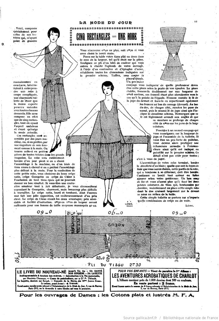 Make your own flapper dress with a few rectangles of fabric.  Who says you need to read French?