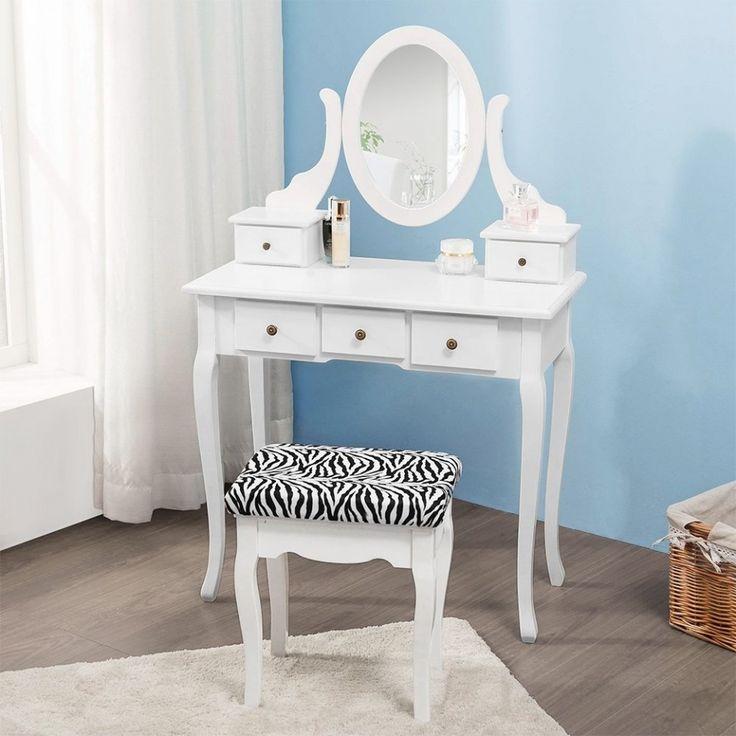 SEA140 Măsuță de machiaj cu taburet animal print - http://www.emobili.ro/cumpara/sea140-set-masa-alba-toaleta-cosmetica-machiaj-oglinda-masuta-vanity-728 #eMobili