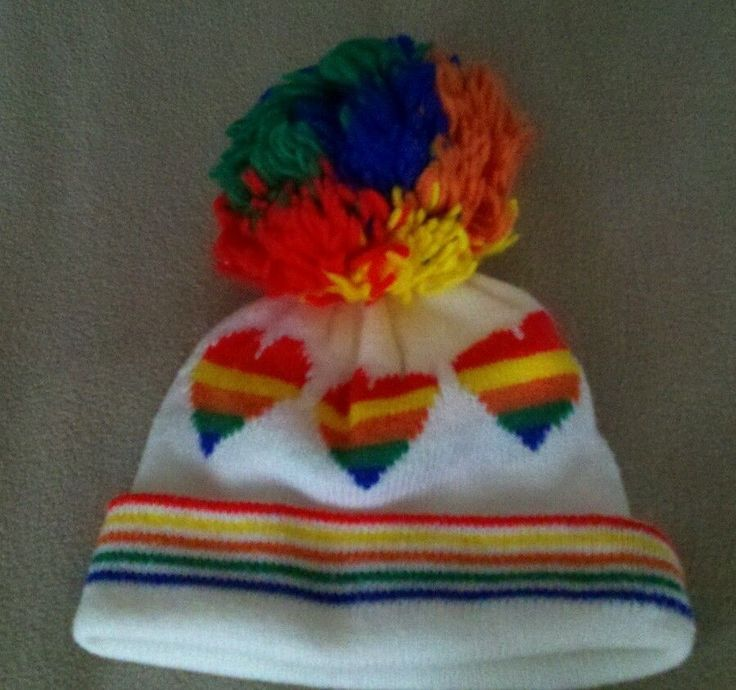 Ski Hat With Rainbow Hearts Large Pom Snowboard Vintage