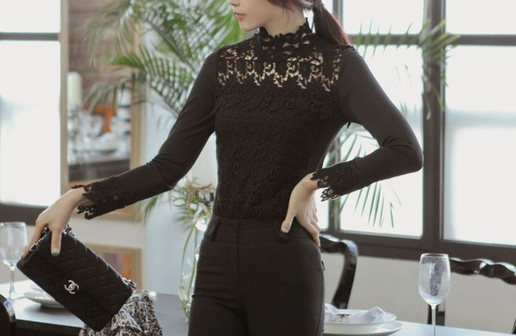 Long sleeve round neck Wine FLORAL LACE BLOUSE formal Crochet blouse tops S/M/L #nobrand #Blouse #Career