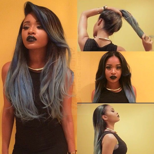 Vixen sew in. Versatile sew in. Colored hair extensions. Grey. Black/