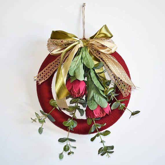 Australian Waratah and Eucalyptus Leaf Christmas Wreath - Extra Large