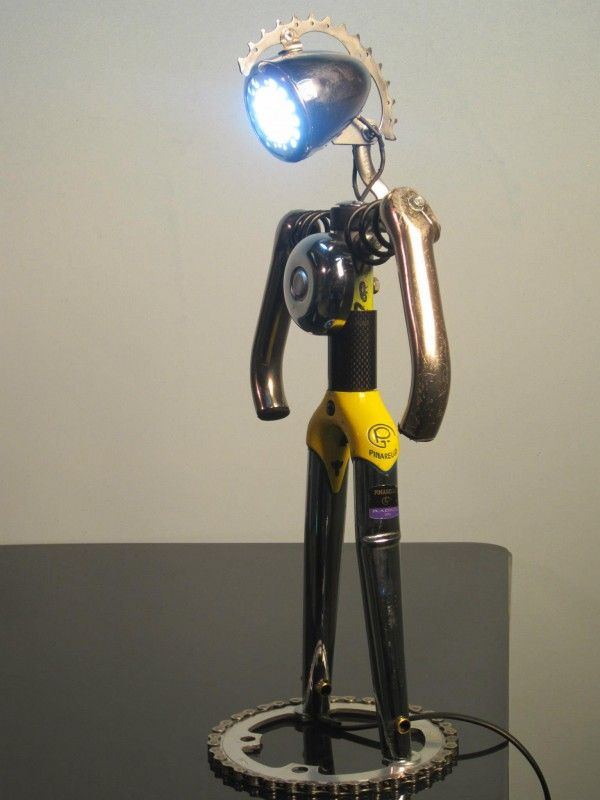 Bicycle Parts lamp #recycled #steampunk #bike For more great pics, follow www.bikeengines.com