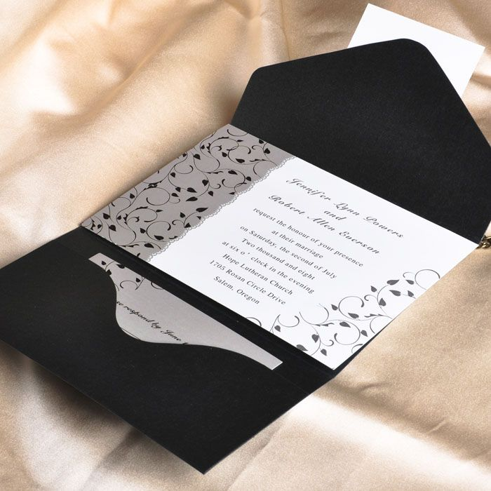 wedding card invitation cards online%0A Elegant Black and White Pocket Wedding Invitations    Cheap Wedding  Invitations Stationery