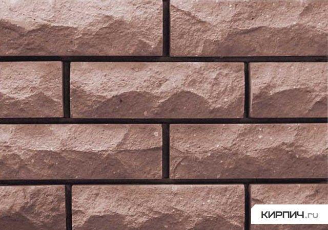 кирпич силикатный облицовочный одинарный рустированный угловой 225х95х65, коричневый