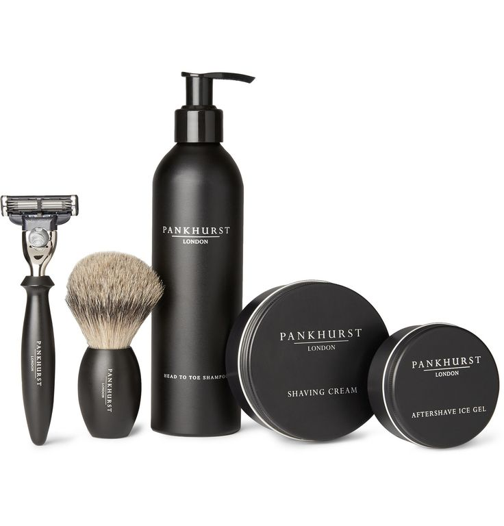 "Pankhurst London Shaving Set The saying goes ""a good lather is half the shave"", and this comprehensive kit from specialist grooming company Pankhurst London has your whole routine covered. Head To Toe Shampoo works as both a head and body cleanser Use the perfectly weighted brush to apply the scented Shaving Cream The safety razor ensures a close and comfortable shave Finish with the soothing Ice Gel for a confident start to the day"