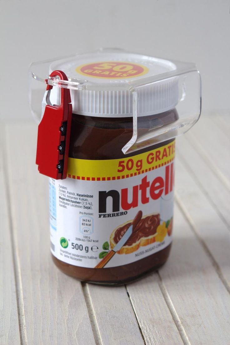 Nutella lock chocosafe® Nutella Schloss transparent, mit rotem Vorhangschloss