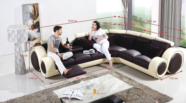 """Диван """"Инфинити"""" - купить п-образный кожаный диван Инфинити в интернет магазине Sit-Down.ru"""