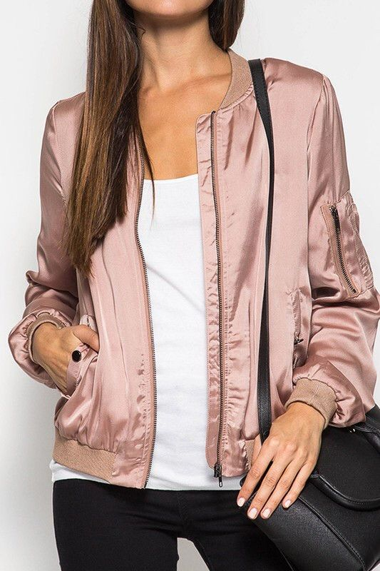 SOLID LONG SLEEVES SATIN BOMBER JACKET JACKET: 70% COTTON 30% POLYESTER LINING : 100% POLYESTER ESTIMATED SHIP DATE: 10/23 FREE SHIPPING!