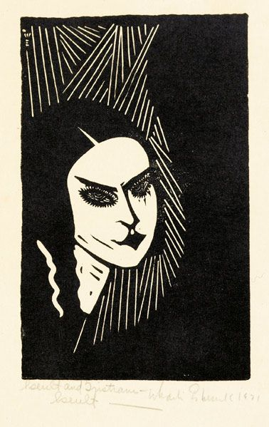 """WHARTON ESHERICK Woodblock print, """"Iseult and Tristram: Iseult,"""" 1931. Signed, titled and dated in pencil. Image: 6"""" x 3 3/4"""" // Rago Arts"""