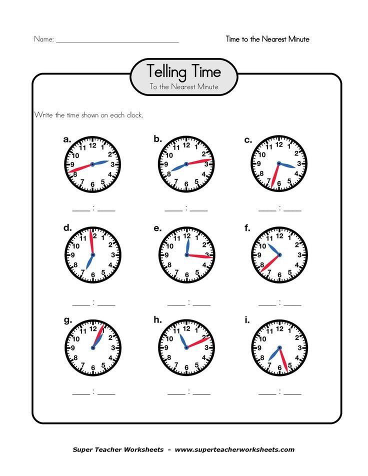 Printable Worksheets for Telling Time PDF Time