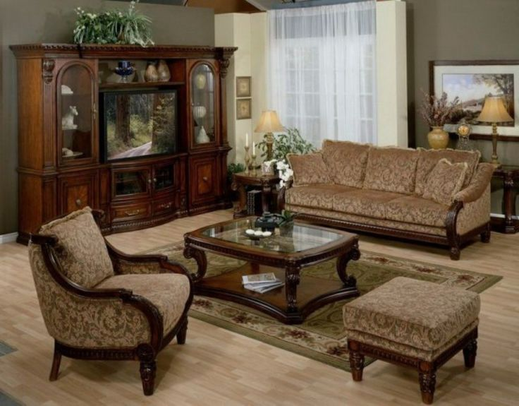 Living RoomGlass Top Coffee Table On Traditional Room Plus Beautiful Floral Couch Set And Spacious Cabinetry Decorating