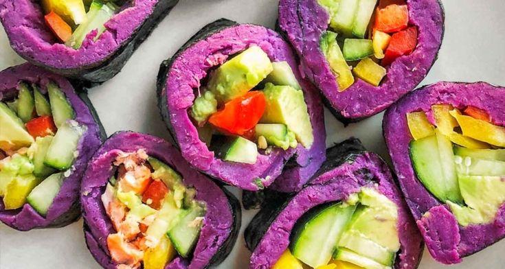Purple Sweet Potato Salmon Sushi Roll