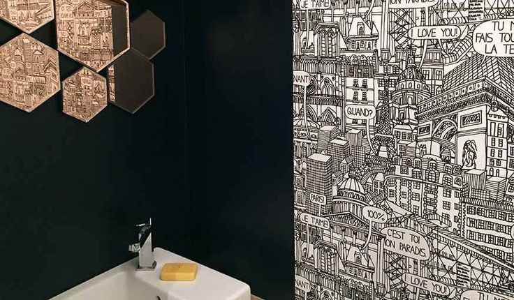 papier peint dans les toilettes id es de. Black Bedroom Furniture Sets. Home Design Ideas