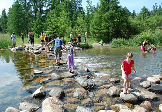 People walking across the headwaters of the Mississippi River, which are located near Grand Rapids, at Lake Itasca.