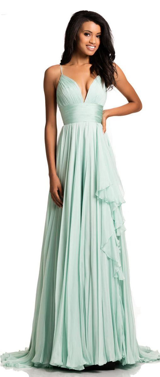 MACloth Sequin Bridesmaid Dress Straps V Neck Ruched Long Formal Evening Gown (54, Plateado)