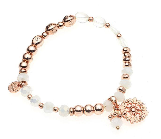 Biba armband Rosé Wit met ornamentje