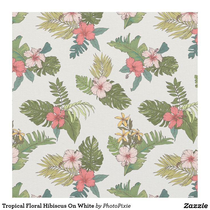 Tropical Floral Hibiscus On White Material