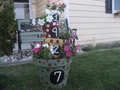 Stacked Tipsy PotsPlants Can, Air Blog, Flower Planters, First House, Flower Pots, Pots Tutorials, Tipsy Pots, House Numbers, Clay Pots