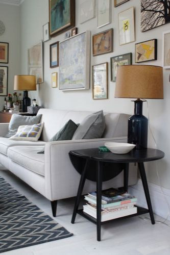 home of prop stylist Scott Horne.  eclectic gallery wall, drop leaf side table, ikea chevron rug, whitewashed floors, and a contemporary sofa: Living Rooms, Frames, Interiors Design, Photos Wall, Emily Henderson, Eclectic Galleries Wall, Art Wall, Eclectic Gallery Wall, Chevron Rugs